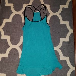 Tea n Rose teal and black tank size small